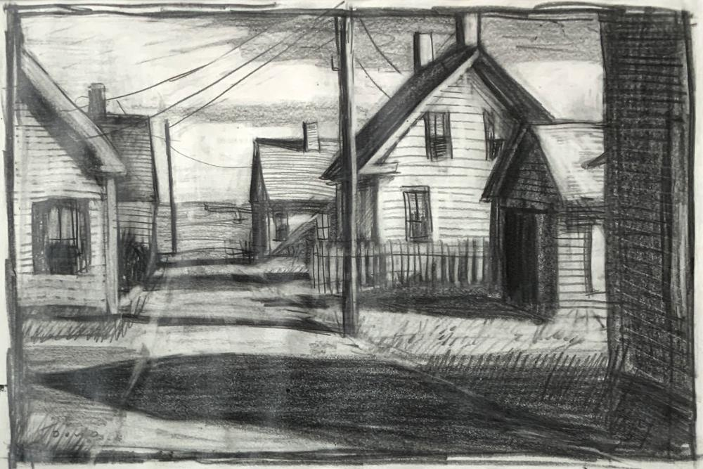 JOHN DOWD (1960- ) Provincetown Street, Early 21st c., Graphite on thin paper