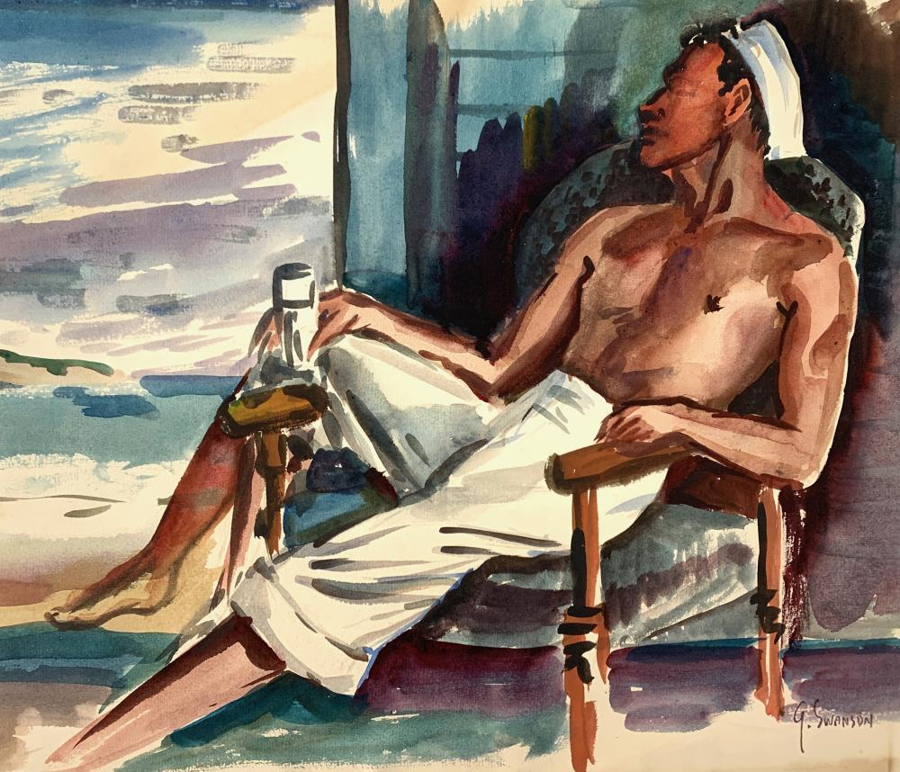 GEORGE SWANSON (1908-1968) Lounging, Early 20th c., Watercolor