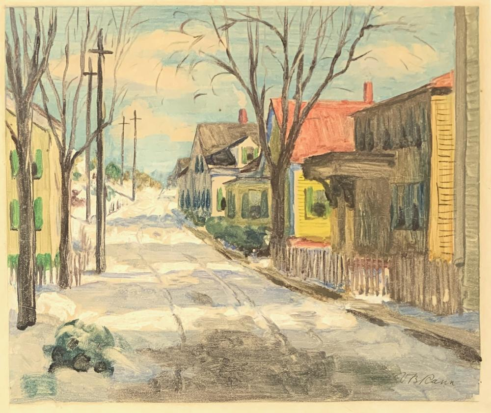 VOLLIAN RANN (1897-1956) Winslow Street, Early 20th c., Monoprint