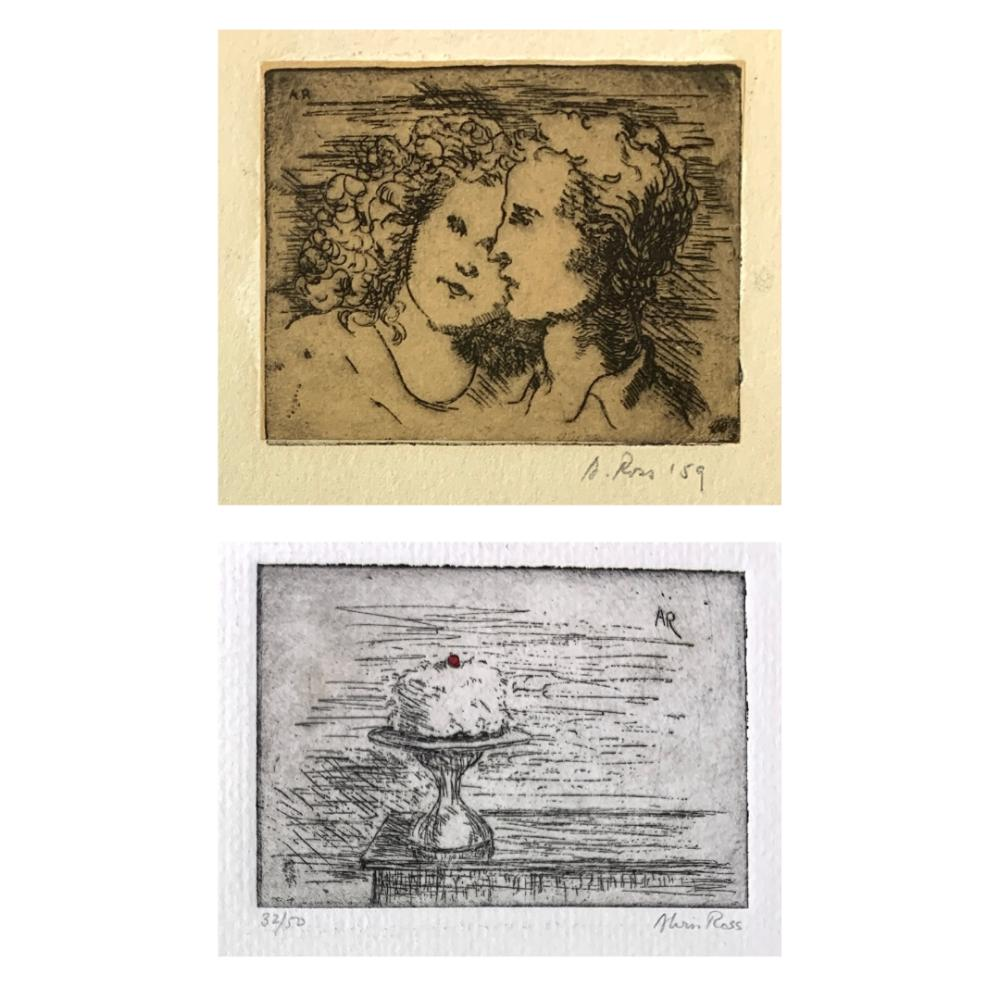 ALVIN ROSS (1920-1975) Lot of 2 Etchings: Cake, 32/50 & Couple, 1959