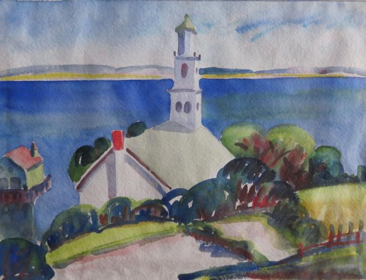 CHARLOTTE SCOTT (1905-1963), Christopher Wren Church, Provincetown, 1933, Watercolor