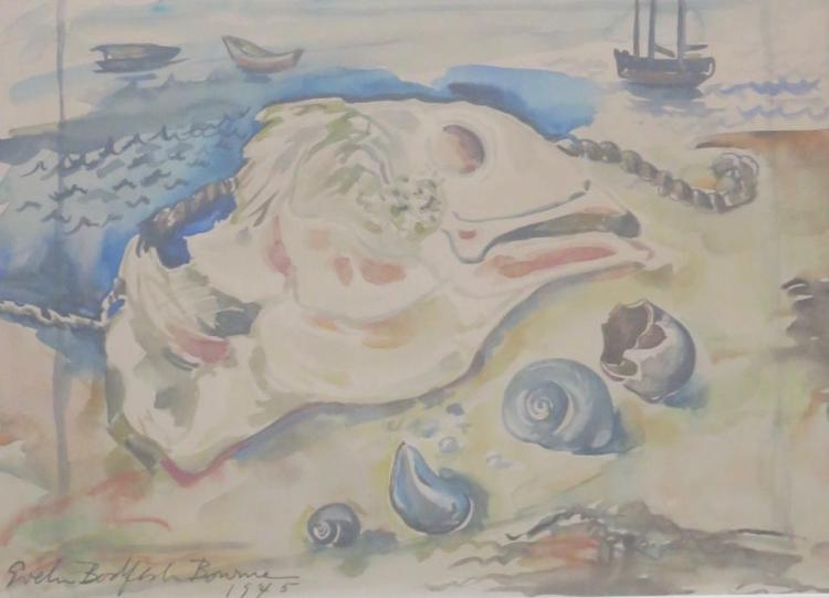 EVELIN BODFISH BOURNE (1892-1954), Skate and Shell, Watercolor