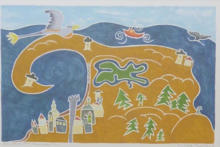 SALLY BROPHY (1960 - ), Blue Heron over Provincetown #12, 2006, White-line woodblock print