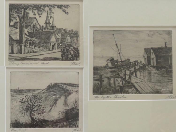 ALBERT EDEL (1894-1970), Lot of 3: Race Point, The Oyster Shacks, Along Commercial Street, Etchings