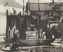 JAMES EDWARD PECK (1907-2002), Provincetown Wharf, Etching