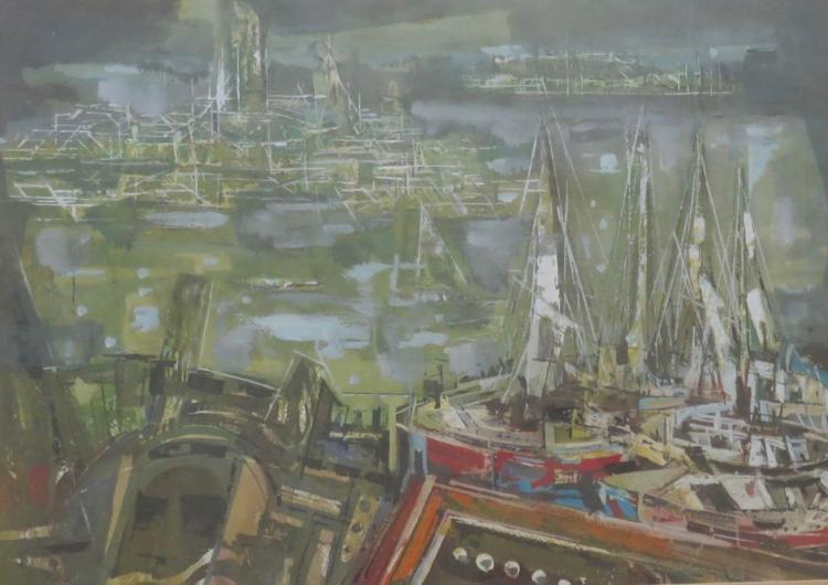 XAVIER GONZALEZ (1898-1993), Boats in the Harbor, Watercolor and gouache