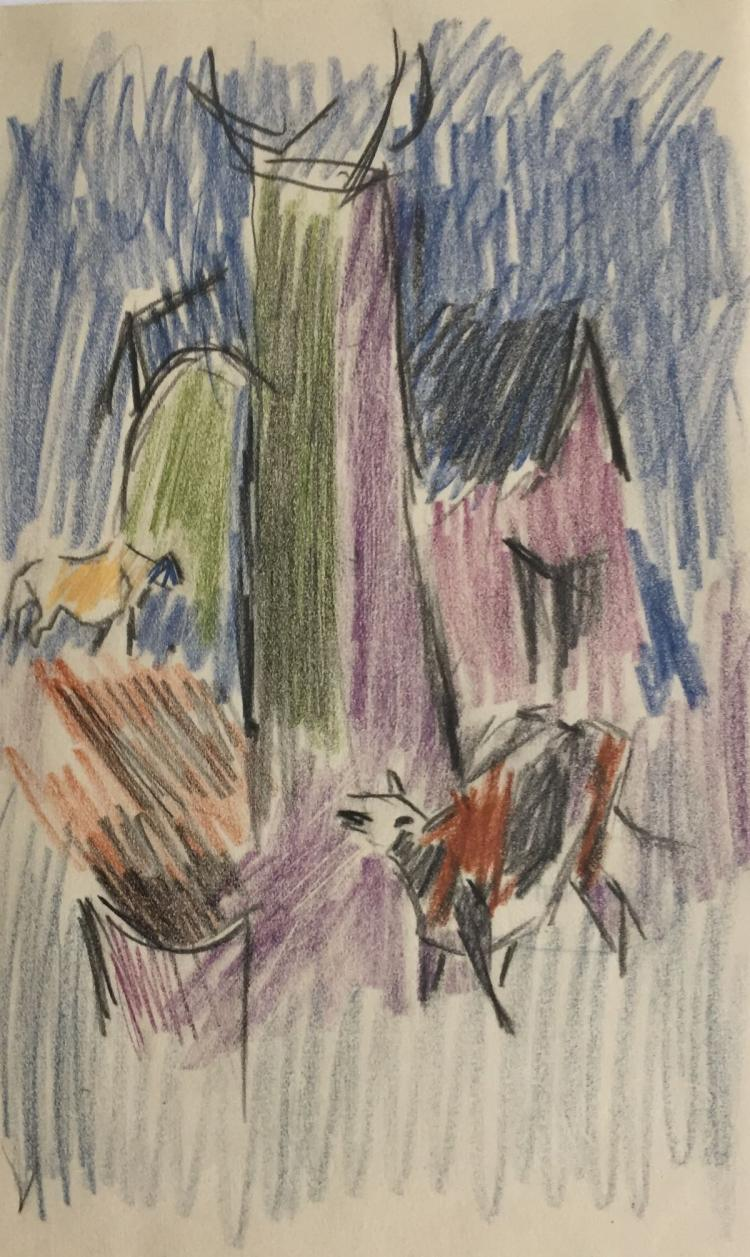 KARL KNATHS (1891-1971), Cow, Colored Pencil