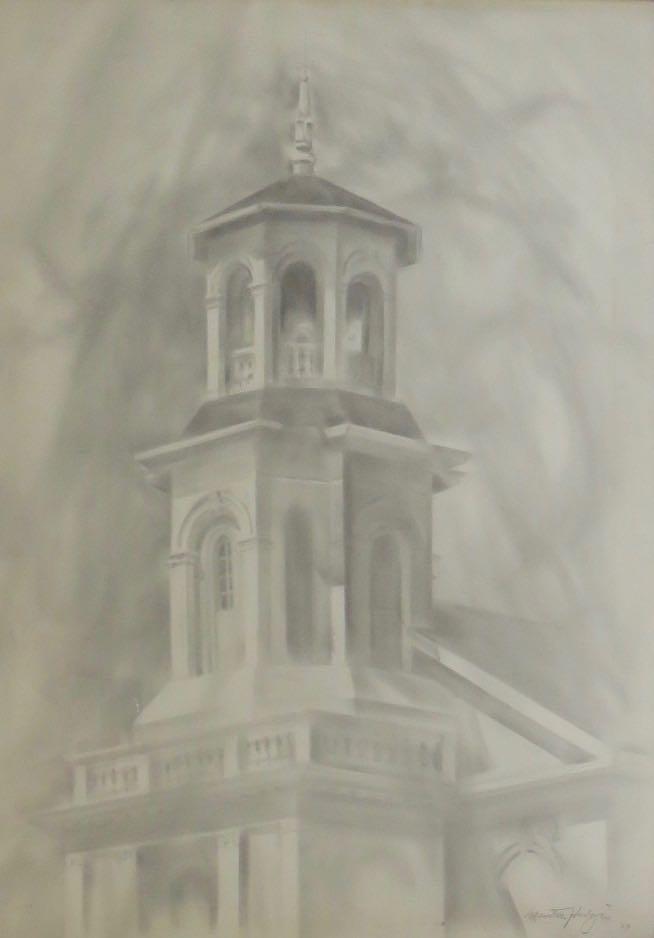 MARSTON HODGIN (1903-2003), Provincetown Library, 1962, Graphite