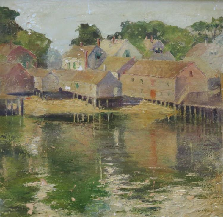 PROVINCETOWN SCHOOL (Early 20th century), Provincetown Harbor, Oil on panel