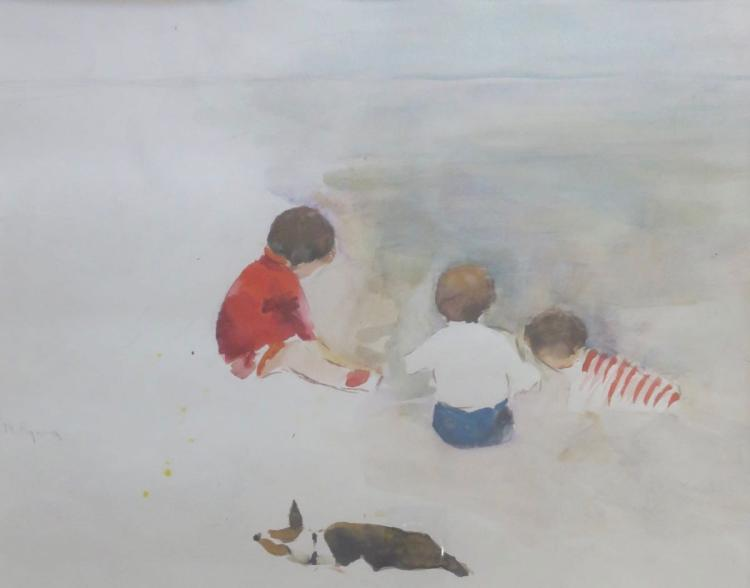 MARGERY RYERSON (1886-1989), Day at the Beach, c. 1925, Watercolor