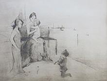 MARGERY RYERSON (1886-1989), Family Gather at Dock, c. 1915, Etching