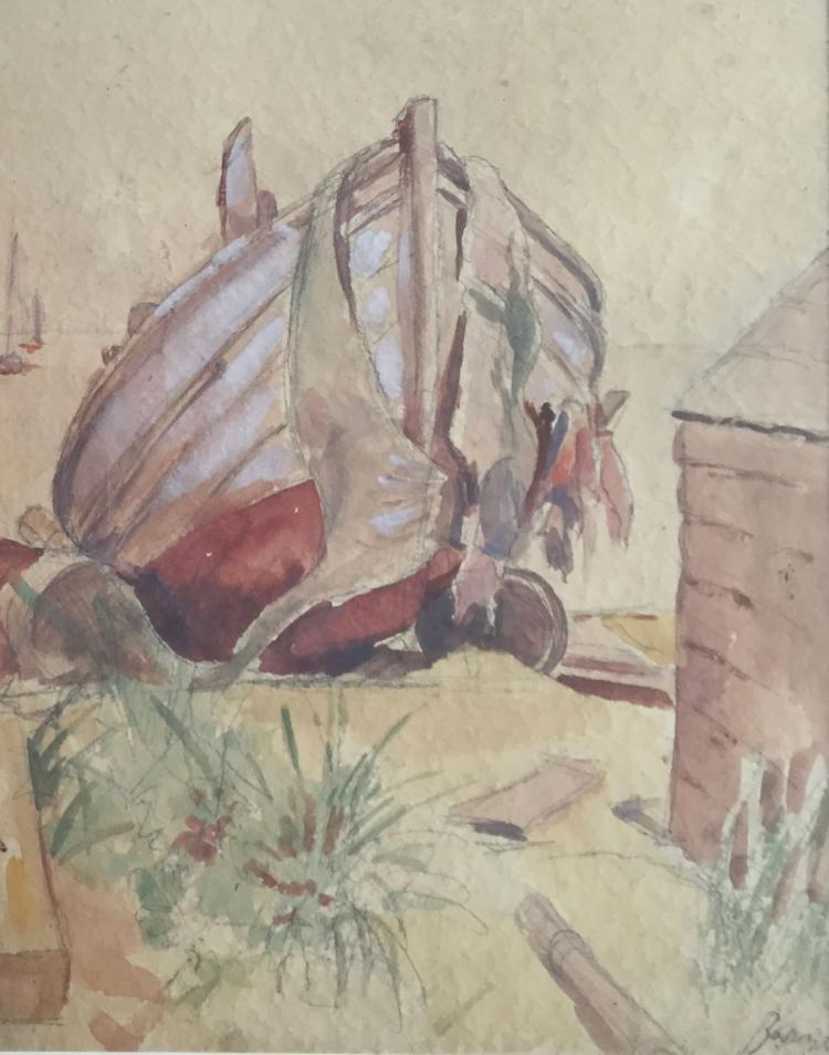 MAX BOHM (1868-1923), Beached Boat, Watercolor