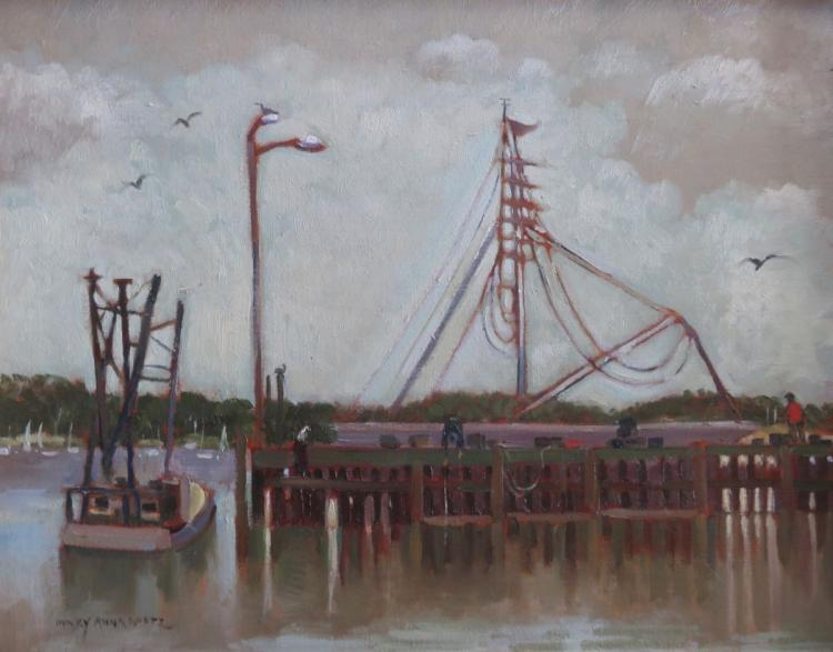 MARY ANNA GOETZ (1946 - ), Pier at Wellfleet Harbor, 2007, Oil