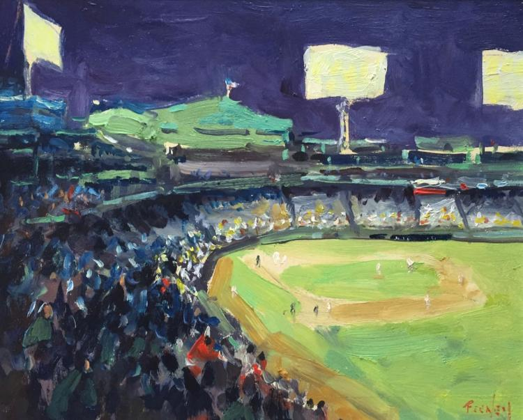 LORETTA FEENEY (1961 - ), Looking Home, Fenway, Oil on masonite