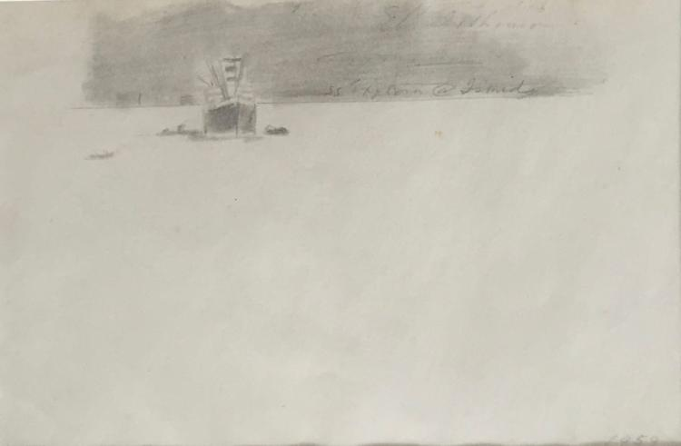 EDWIN DICKINSON (1891-1978), SS Explorer at Izmit, 1959, Graphite