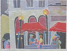 KATHRYN LEE SMITH (1953 - ), Afternoon, Copley Plaza, #2, 1995, White-line print