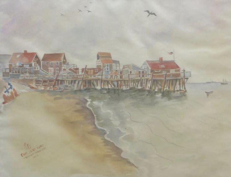OLI, Captain Jack's Wharf, 1944, Watercolor