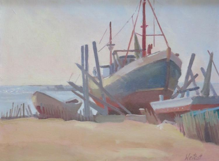 CAROL WESTCOTT (1926-2008), Dry Dock, Oil on canvas
