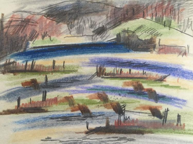 KARL KNATHS (1891-1971), Landscape, Colored pencil