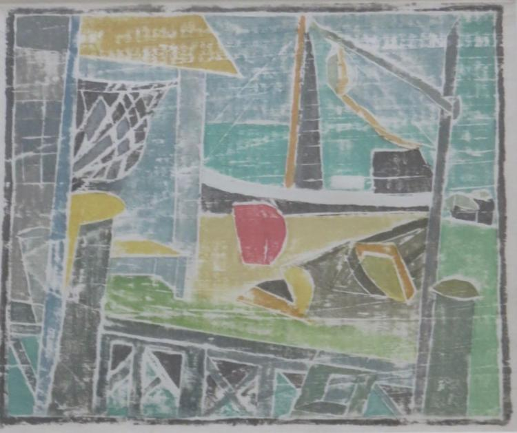ANGELE MYRER (1896-1970), Provincetown Wharf, White-line woodblock print