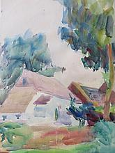 CHARLES W. HAWTHORNE (1872-1930), Provincetown Cottage/Landscape (double sided), watercolor