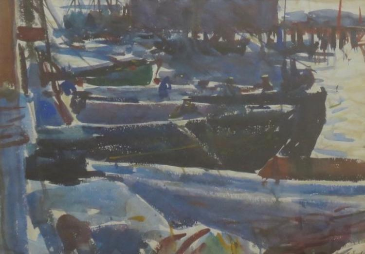 HAROLD LUND (1904 - ), Boats at Dock, c. 1930, Watercolor