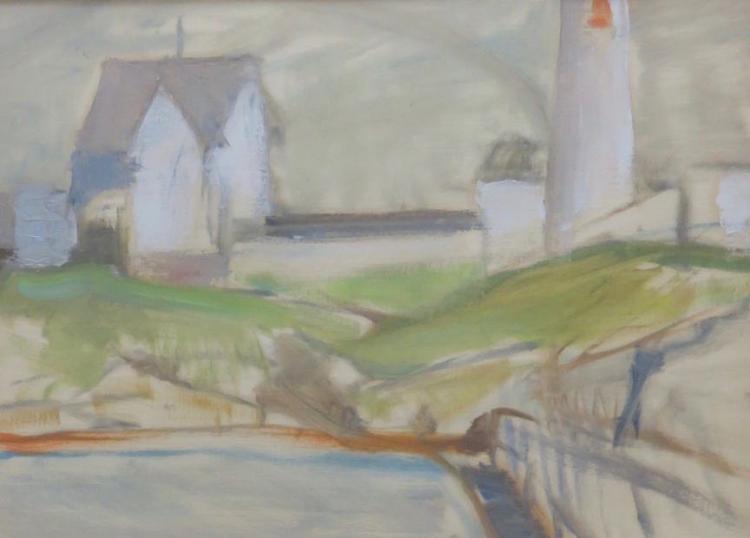 OLGA SEARS (1906-1990), Lighthouse, Oil on paper