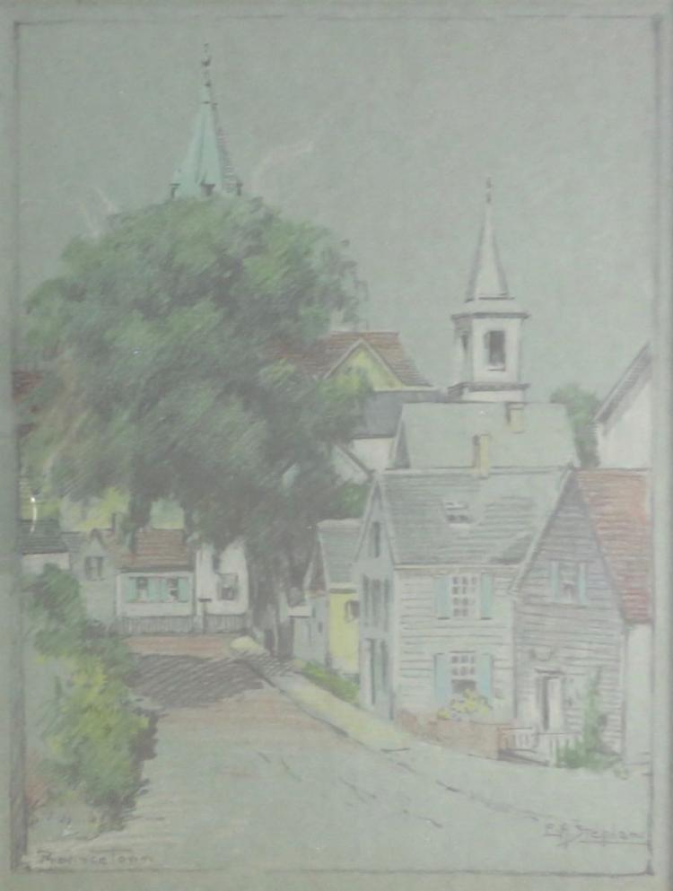 ELMER A. STEPHAN (1892-1944), Bradford Street Looking East, Watercolor