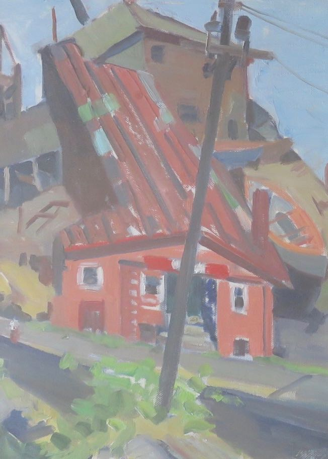 OLGA SEARS (1906-1990), Boatyard, Oil on paper