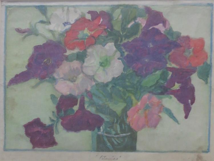 MARGARET J. PATTERSON (1867-1950), Petunias, Woodblock print