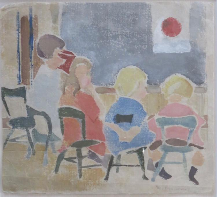 MARGERY RYERSON (1886-1989), Children Class, c. 1925, White-line woodblock print