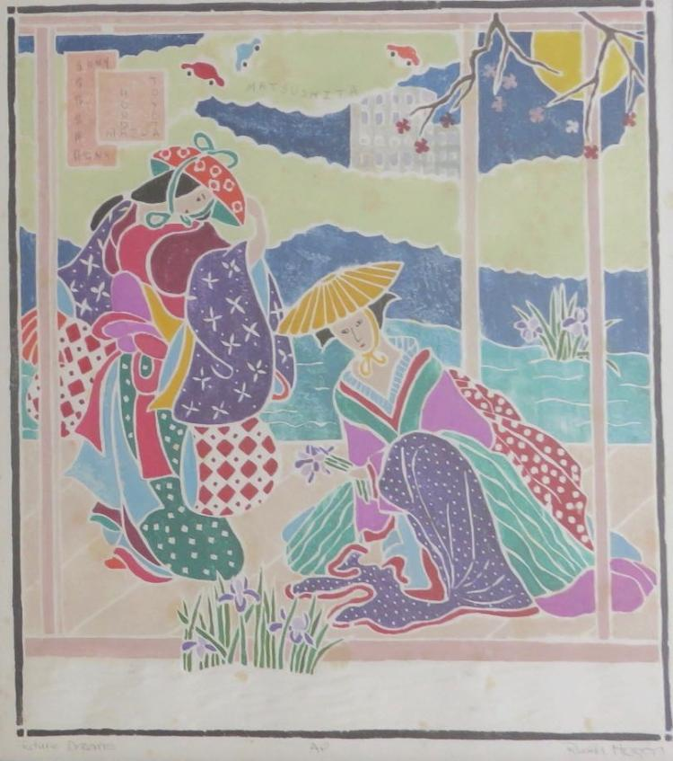 RUTH HOGAN (1943 - ), Future Dreams, AP (Artist's Proof), White-line woodblock print