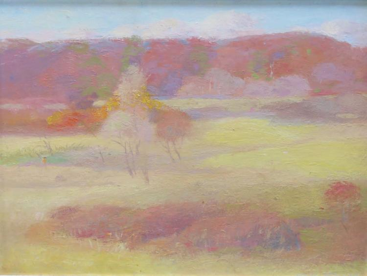 HENRY HENSCHE (1901-1992), High Autumn, 1942, Oil on masonite