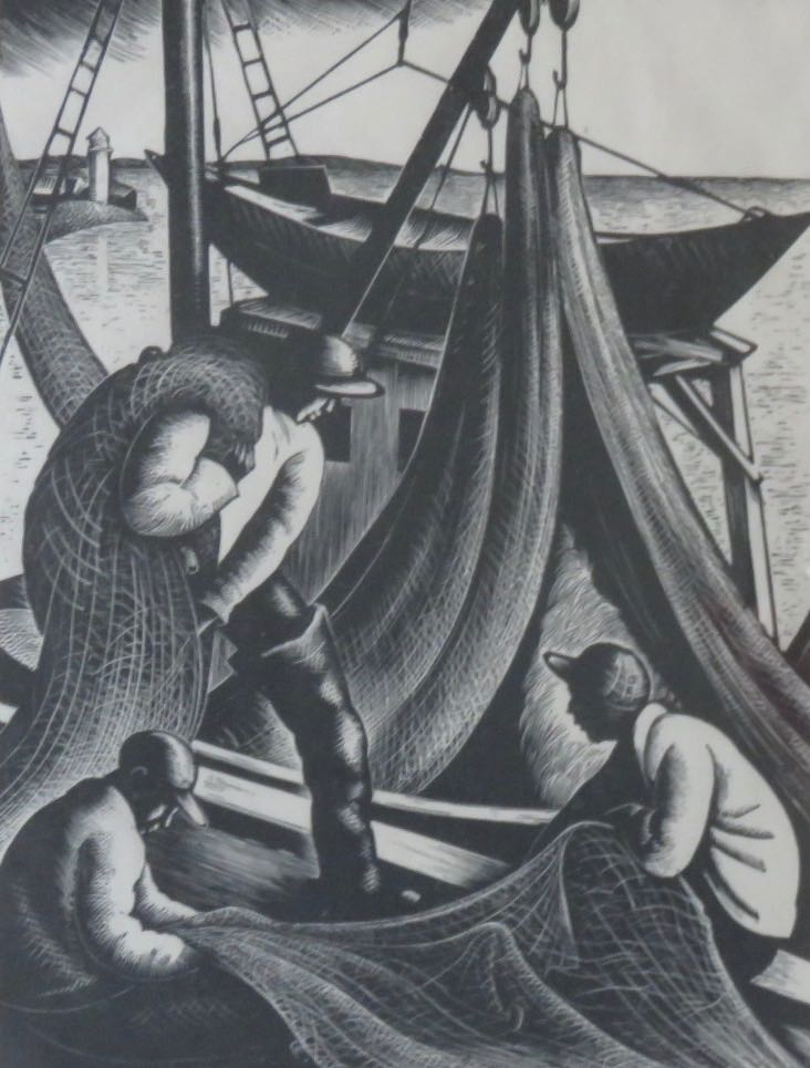 CLARE LEIGHTON (1898-1989), The Net Mender, 71/300, Wood engraving