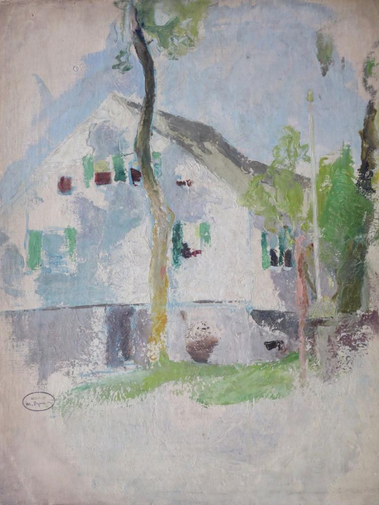 MARGERY RYERSON (1886-1989), White Cottage with Open Shutter, 1920, Oil on board