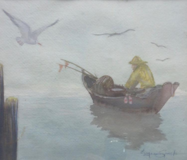 EUGENE SPARKS (1940 - ), Fisherman, Watercolor