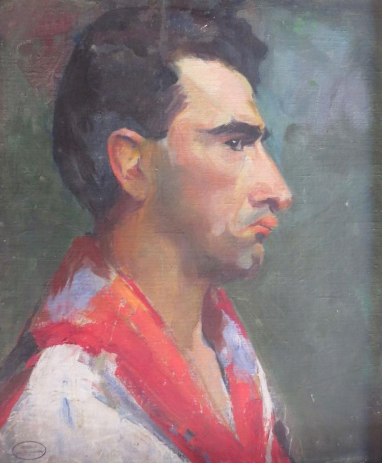 MARGERY RYERSON (1886-1989), Man with Red Scarf, c. 1925, Oil on board