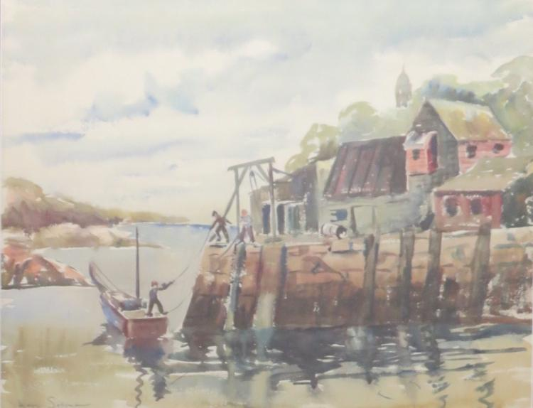 MAYO SORGMAN (1912-2006), Tying the Boat, Watercolor