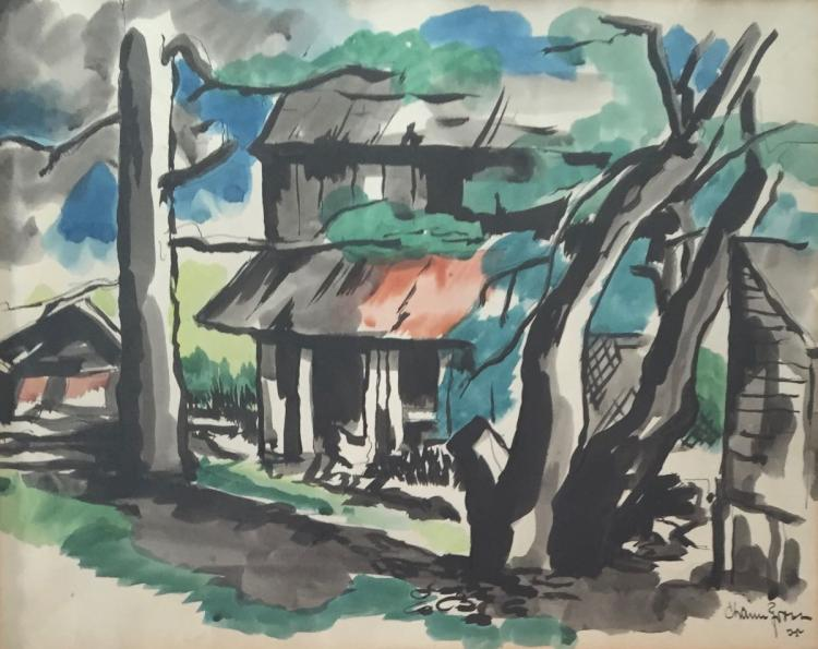 CHAIM GROSS (1904-1991), Farmhouse, Watercolor