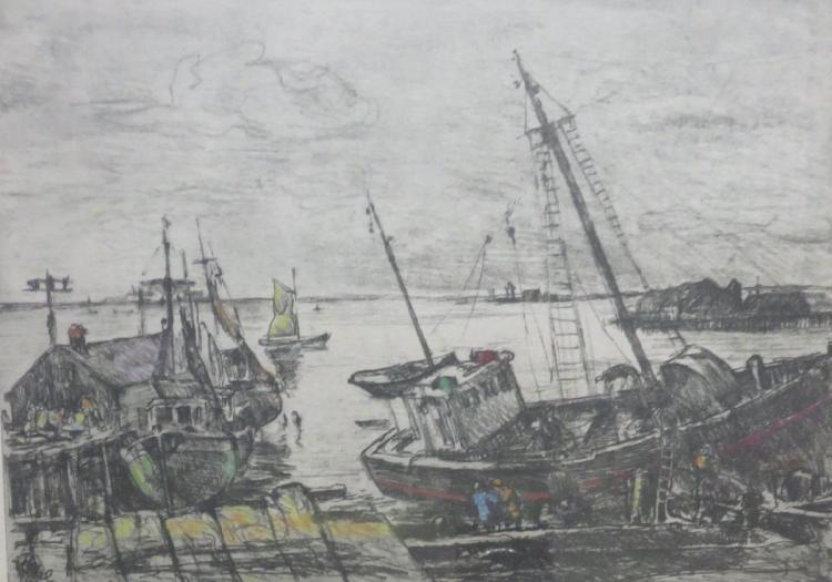ALBERT EDEL (1894-1970), Provincetown Harbor, Etching