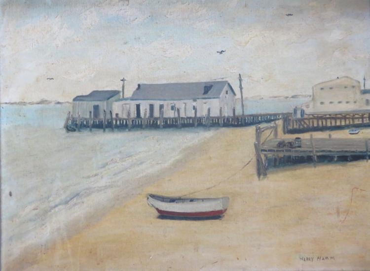 HARRY HAM (20th century), Provincetown Harbor, 1965, Oil on canvas panel