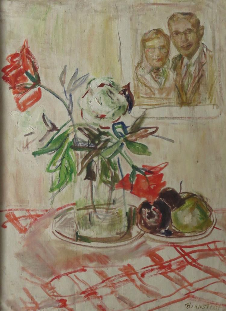 THERESA BERNSTEIN (1891-2002), Flower w/Bernstein/Myerwitz Portrait, Oil on Canvas