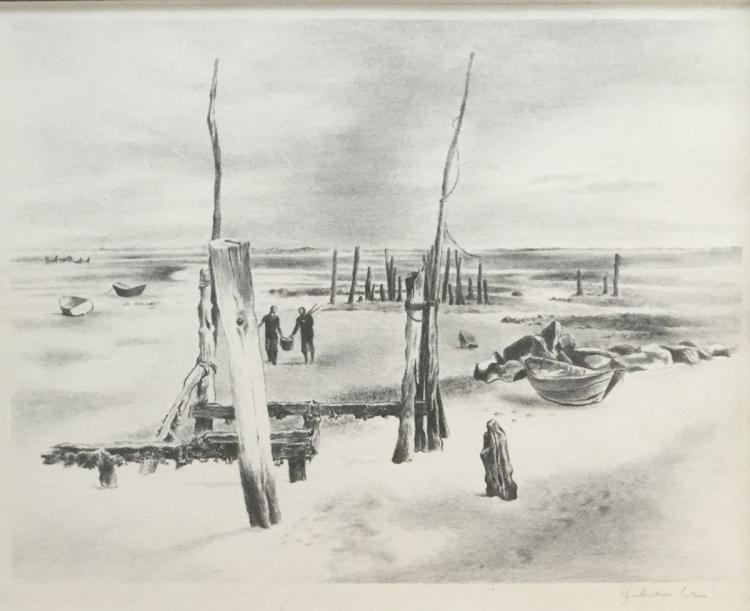 JULIAN LEVI (1900-1982), Low Tide, Lithograph