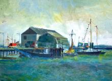 FRANZ ALTSCHULER (1923-2009) Wharf, Oil on canvas board