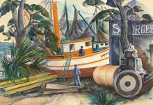 WILLIAM L'ENGLE (1884-1957), In Dry Dock, St. Augustine, Florida, Watercolor