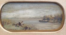 LOUIS EILSHEMIUS (1864-1941), Washing on Shore, Oil on panel