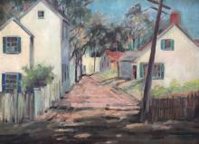 REBA HUDDLE (1884-1963), Provincetown Street, Oil on canvas board
