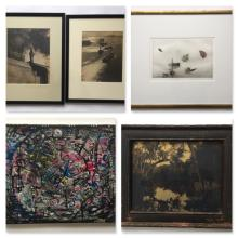VARIOUS, Lot of 5 (Photographs, oil, color etching)