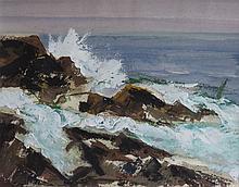 VICTOR DE CARLO (1916-1973), Rocks and Surf, Monhegan, Casein