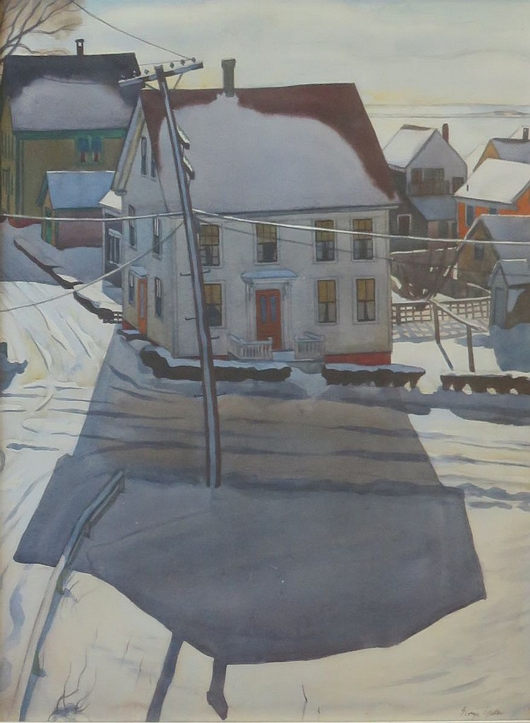 GEORGE YATER (1910-1993), Bradford Street, Winter, Watercolor